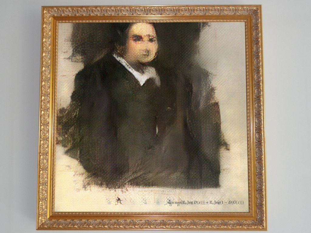 <em>Edmond de Belamy</em>, created using artificial intelligence, will be auctioned at Christie's on Thursday.
