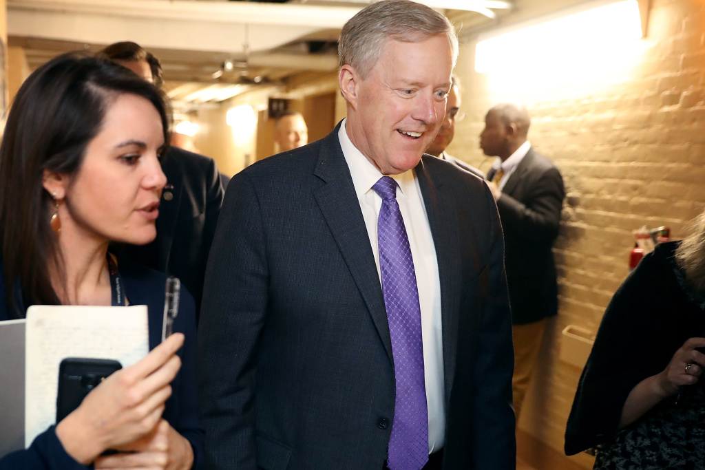 Member of the House Freedom Caucus Chairman Mark Meadows (R-NC) arrives for a House Republican Conference meeting in the basement of the U.S. Capitol December 18, 2017 in Washington, DC.