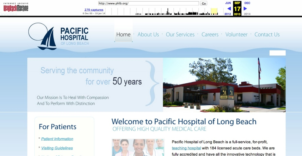 A screenshot of the former website for the now-defunct Pacific Hospital, which Michael Drobot owned. The screenshot was preserved on the Wayback Machine web archive site. The Pacific Hospital site is now offline.