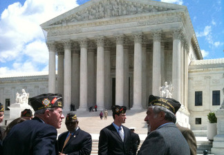 Members of Veterans of Foreign Wars gather in front of the Supreme Court in Washington D.C. on April 28, 2010.