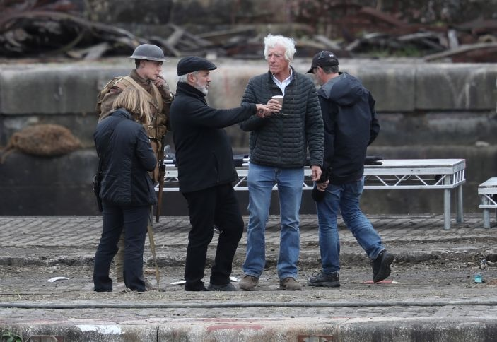Director Sam Mendes (center) and cinematographer Roger Deakins on the set of