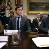 WASHINGTON, DC - JANUARY 31:  U.S. President Donald Trump (R) delivers remarks at the beginning of a meeting with his son-in-law and Senior Advisor Jared Kushner and government cyber security experts in the Roosevelt Room at the White House January 31, 2017 in Washington, DC. Citing the hack of computers at the Democratic National Committee by Russia, Trump said that the private and public sectors must do more to prevent and protect against cyber attacks.  (Photo by Chip Somodevilla/Getty Images)