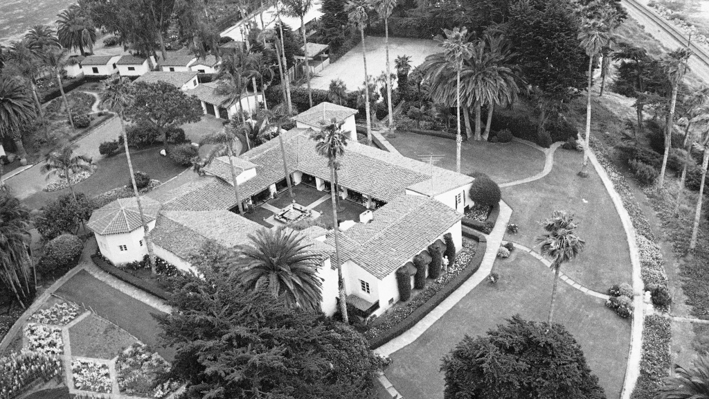 The Oceanside California home of President and Mrs. Richard Nixon as it appeared on May 13, 1969. The 10-room Spanish-style adobe in San Clemente, is back on the market for $75 million.