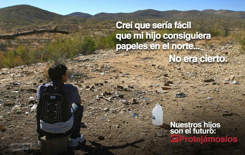 "A poster that is part of a U.S. Customs and Border Protection information campaign targeted at countries where a lot of minors traveling to the U.S. originate. It translates to: ""I thought it would be easy for my son to get his papers in the North. That wasn't true."" According to a new analysis of government data, the share of children 12 and younger making the journey has increased."