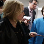 Sen. Dianne Feinstein (D-CA) talks with reporters as she heads for her party's weekly policy luncheon at the U.S. Capitol May 16, 2017 in Washington, DC.