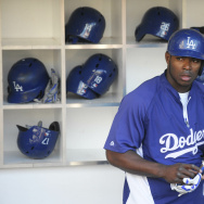 SAN DIEGO, CA - JUNE 20:  Yasiel Puig #66 of the Los Angeles Dodgers gets ready for batting practice before a baseball game against the San Diego Padres at Petco Park June 20, 2014 in San Diego, California.  (Photo by Denis Poroy/Getty Images)