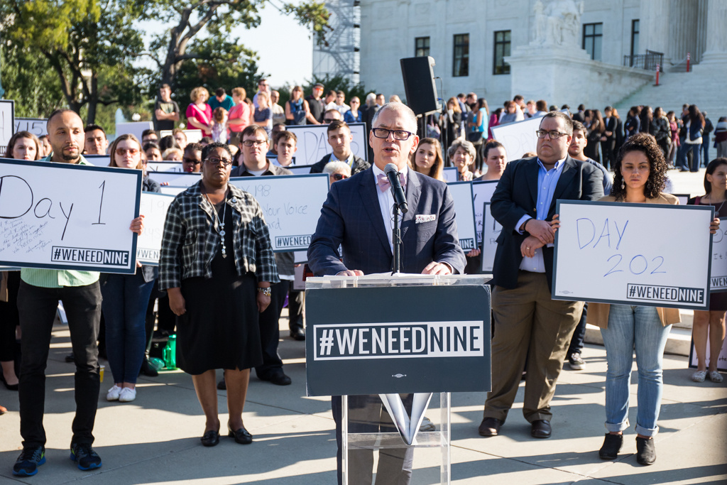 Plaintiff in the Obergefell v. Hodges Supreme Court case Jim Obergefell  speaks during a rally urging the U.S. Senate to hold a confirmation vote for Supreme Court Nominee Merrick Garland.