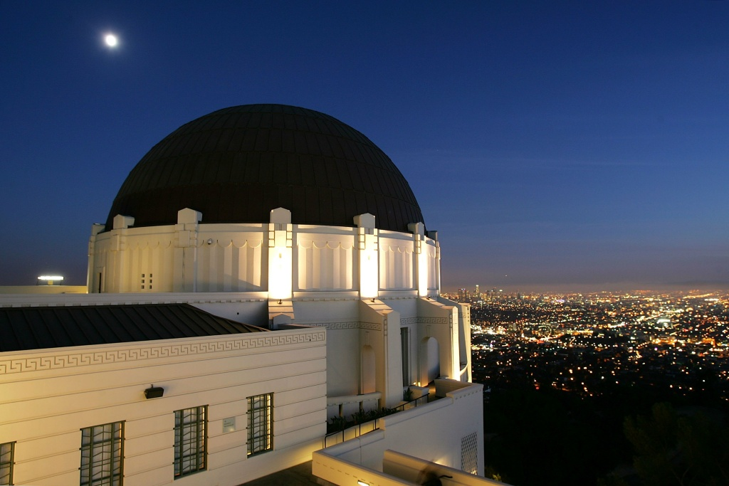 File: The Griffith Observatory overlooks Los Angeles from atop the Hollywood Hills on the eve of the re-opening on November 2, 2006 in Los Angeles, California.