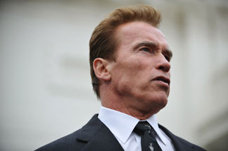 California Governor Arnold Schwarzenegger speaks to reporters after members of the National Governors Association met with US President Barack Obama February 22, 2010 at the White House in Washington, DC.