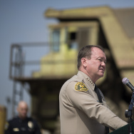 LA County Sheriff Jim McDonnell addresses a news conference prior to the destruction of approximately 3,400 guns and other weapons at the LA County Sheriffs' 22nd annual gun melt.
