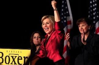 U.S. Sen. Barbara Boxer (D-CA) gives a victory speech on November 2, 2010 in Hollywood, California.