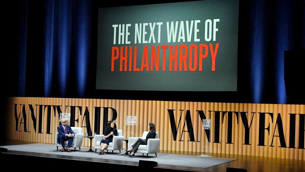 President of the Ford Foundation Darren Walker, co-founder of the Chan Zuckerberg Initiative Priscilla Chan, and president of the Goldman Sachs Foundation Dina Powell speak during the Vanity Fair New Establishment Summit in 2016 in San Francisco, Calif.