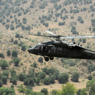A US Blackhawk army helicopter flies ove