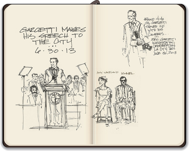 Mike Sheehan's sketches from the Garcetti inauguration