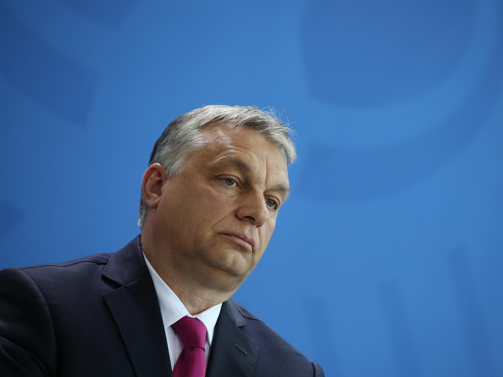 Hungarian Prime Minister Viktor Orban speaks to the media from Berlin on July 5, 2018.