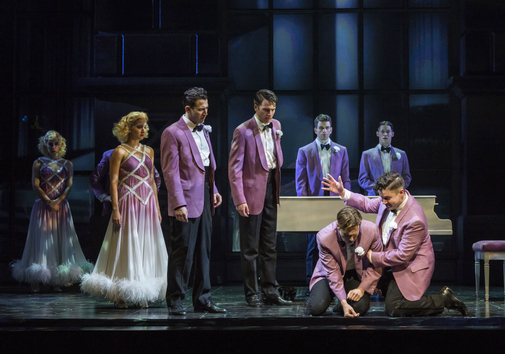 "(L-R): Liberty Cogen, Lindsay Moore, Matt Bailey, Douglas Williams, Shayne Kennon, Chris Dwan, (kneeling front) Will Taylor and Will Blum in ""Harmony,"" a new musical, with music by Barry Manilow and book and lyrics by Bruce Sussman. Directed by Tony Speciale, ""Harmony"" plays March 4 through April 13, 2014, at the CTG/Ahmanson Theatre. Tickets may be purchased online at CenterTheatreGroup.org or by calling (213) 972-4400 or in person at the CTG box office, located at the Ahmanson Theatre.  Contact: CTGMedia@CenterTheatreGroup.org/(213) 972-7376 Photo by Craig Schwartz"