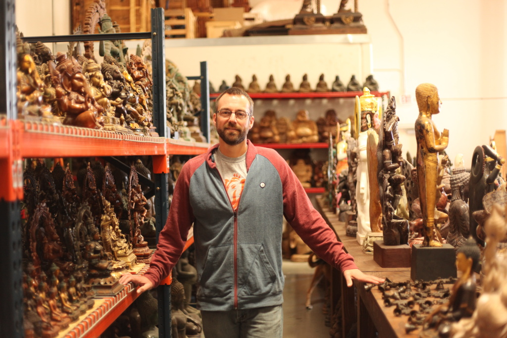 Kyle Tortora has built a business selling Buddhist and Hindu sculptures at Lotus Sculpture in Oceanside, Calif.
