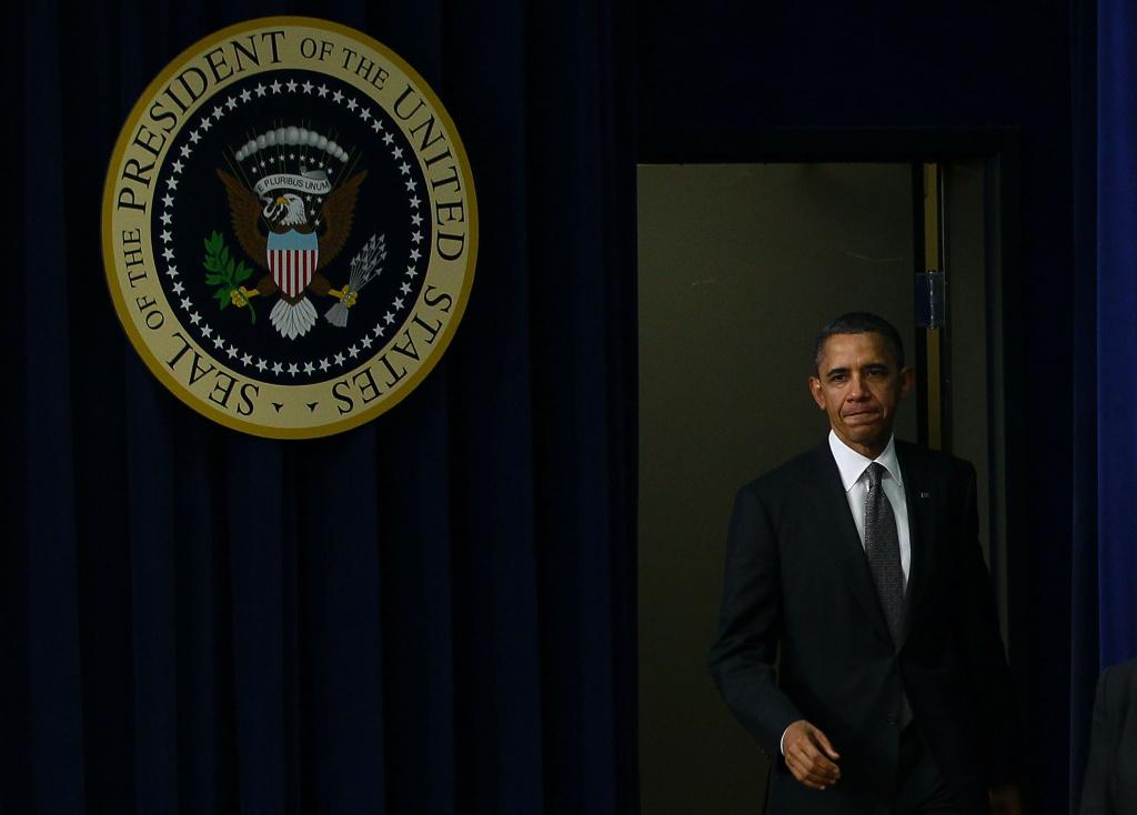 U.S. President Barack Obama walks onstage to make a statement December 22, 2011 in Washington, DC.