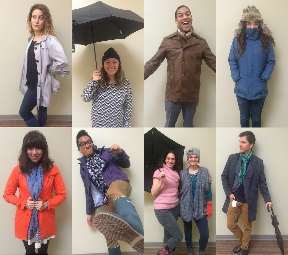 KPCC staffers all show off their El Niño and rainy day fashion gear. Clockwise from top left: Kristen Lepore, Maya Sugarman, Austin Cross, Michelle Lanz, Sanden Totten, Andrea Gardner-Bernstein, Evelyn Larrubia, Leo Duran and Becca Murphy.