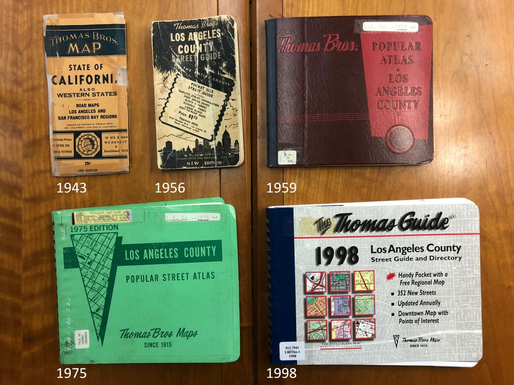 Five different Thomas Guides from the Los Angeles Public Library Central Library's collection.