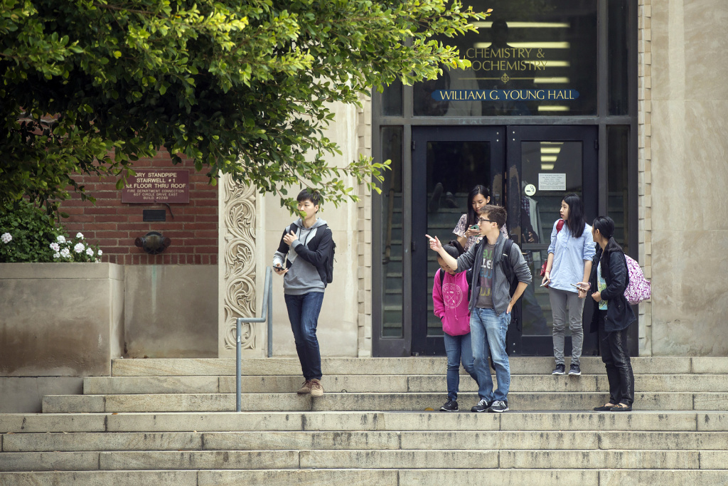 Students emerge from Young Hall after a lockdown is lifted on Wednesday, June 1, 2016 following a murder-suicide on the University of California, Los Angeles campus.
