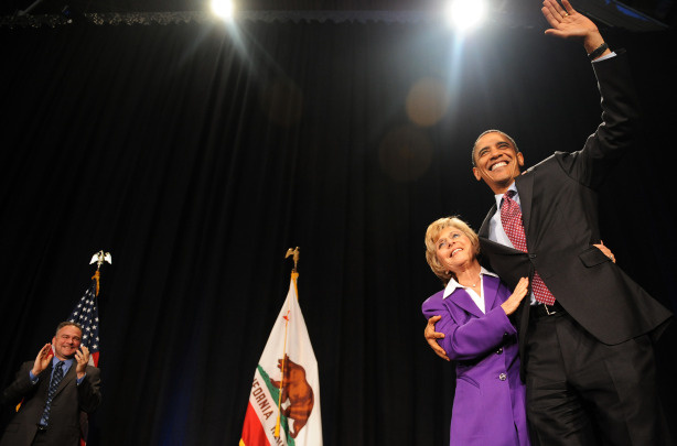 US President Barack Obama greets Senator Barbara Boxer as he arrives to speak at a fundraising reception at the California Science Center in Los Angeles, California, on April 19, 2010.