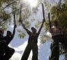 Followers of toppled Honduran President Manuel Zelaya brandishing machetes stand a demonstration in Tegucigalpa September 1, 2009