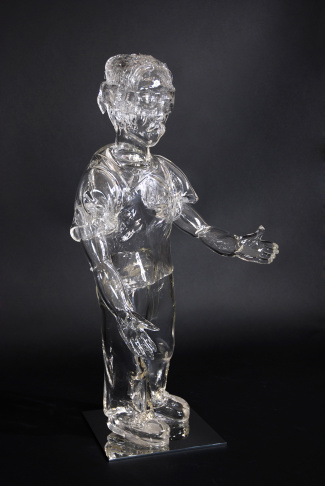 Child from Broken Dreams, 2017, blown and hot-sculpted glass, shards of glass