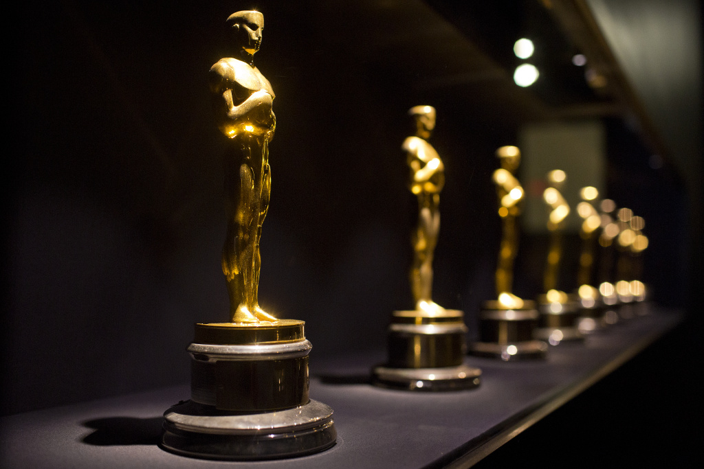 FILE PHOTO: Oscars are on display in the entrance to the Academy of Motion Picture Arts and Sciences' Hollywood Costume exhibition at the Wilshire May Company Building. The show opens October 2.