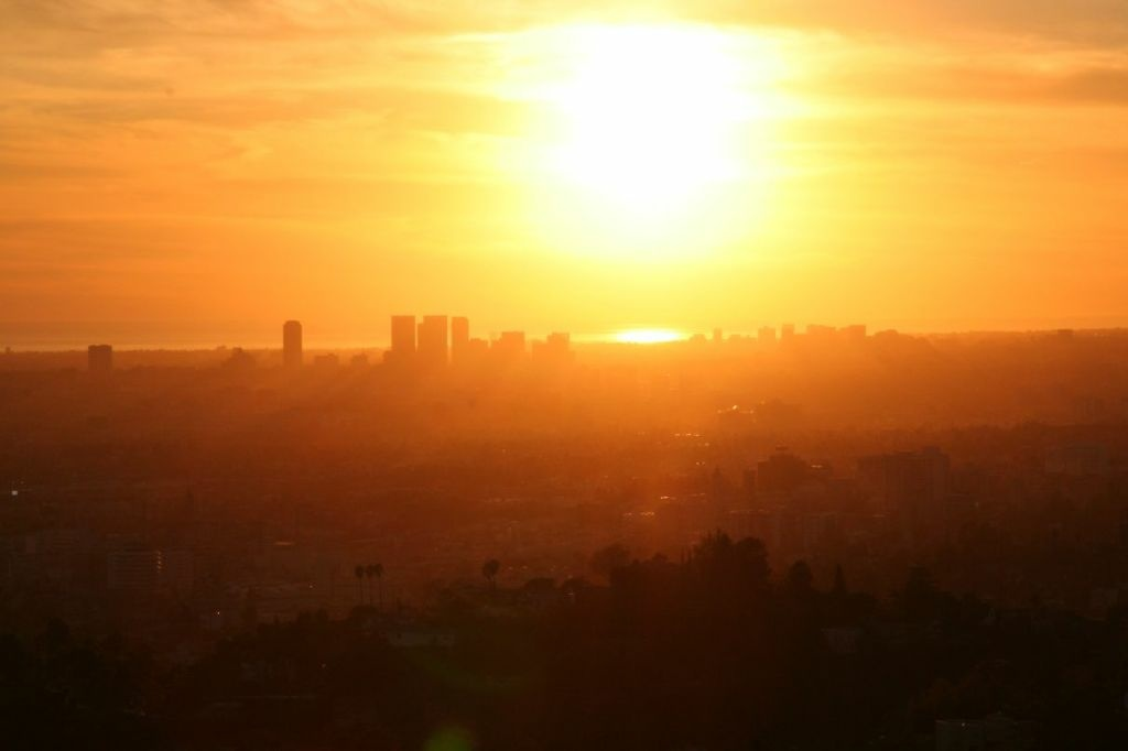 The sun over Los Angeles. The heatwave is going to continue this week.