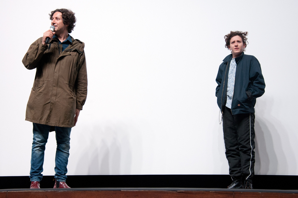 Director Jonathan Glazer and composer Mica Levi attend the premiere of A24's