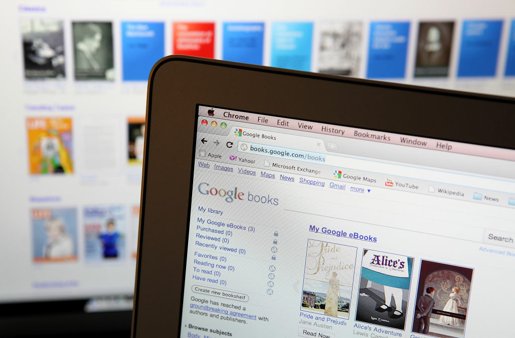 A computer screen displays Google eBooks online.