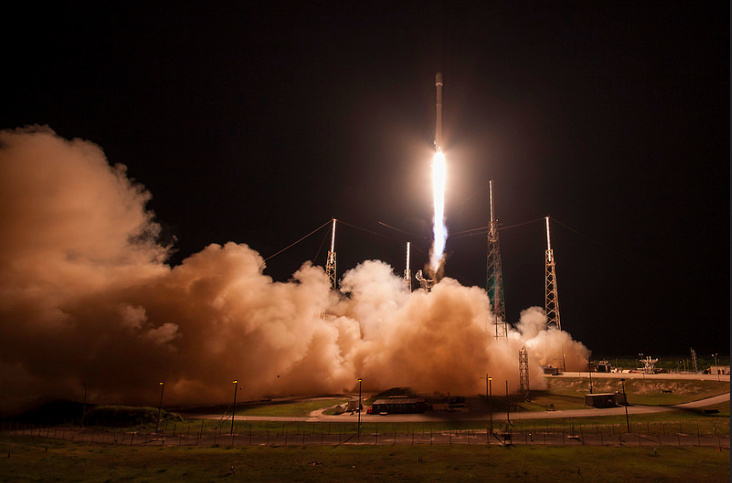 Launch of JCSAT-14 rocket by SpaceX on May 6, 2016. The company could benefit if Congress increases funding for missile defense or the space program.