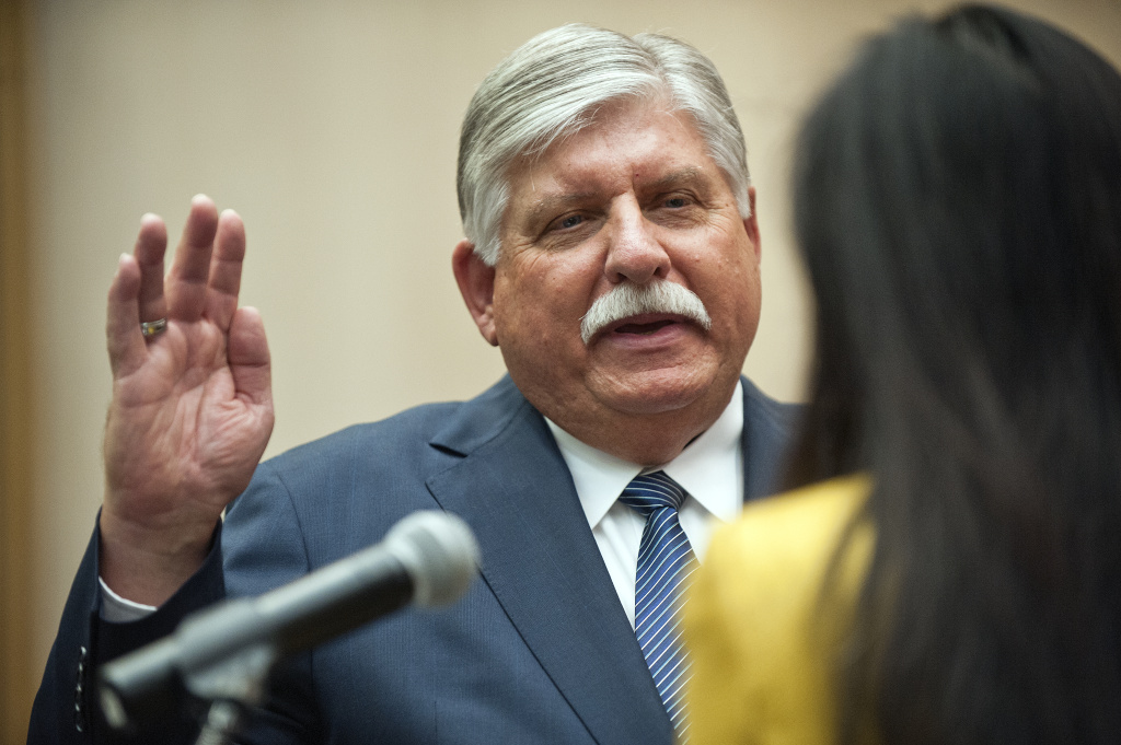 Interim LA County Sheriff John Scott is sworn in at the Board of Supervisors Hearing Room at the Hall of Administration on Jan. 30.