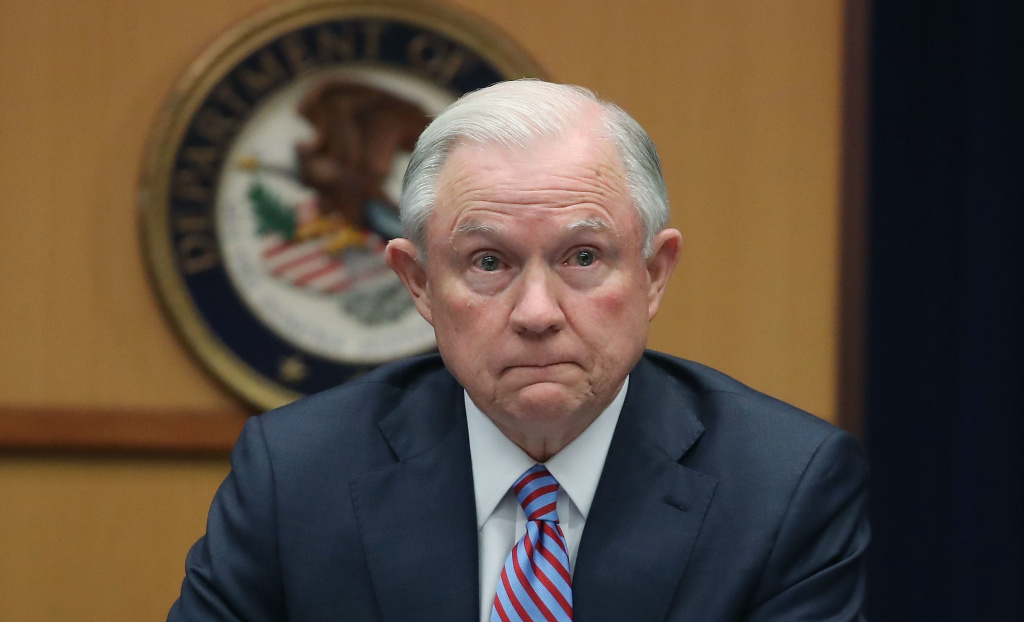 Attorney General Jeff Sessions is seen testifying before the Senate Intelligence Committee in this file photo.