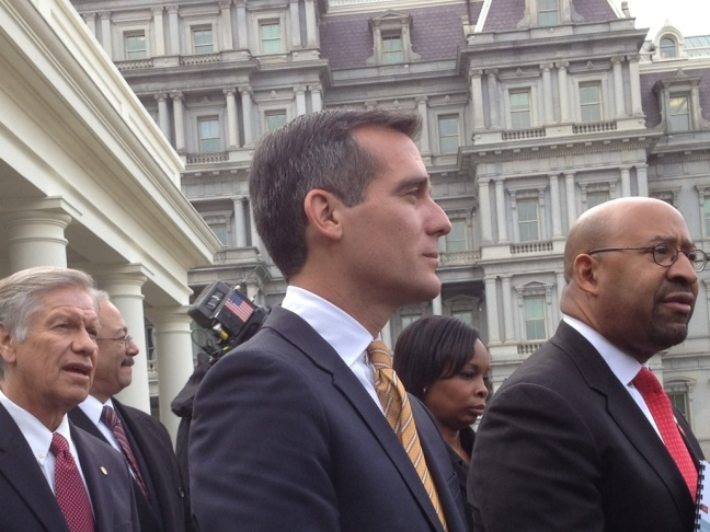 L.A. Mayor Eric Garcetti joined other mayors receiving