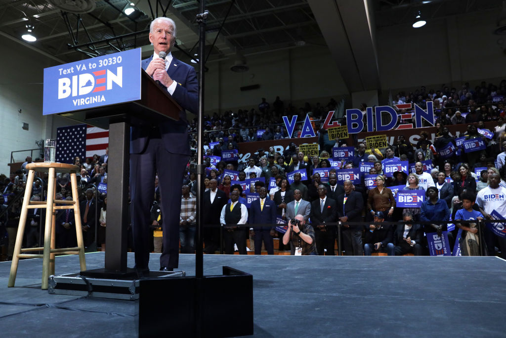 Democratic presidential candidate former Vice President Joe Biden speaks during a campaign event at Booker T. Washington High School March 1, 2020 in Norfolk, Virginia.