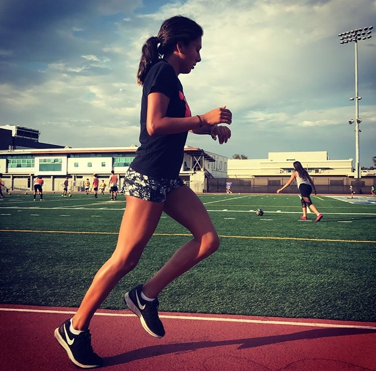 Alex Lomeli, 16, is a junior at Notre Dame Academy in west LA. She also aspires to one day run in the 2028 Olympics.