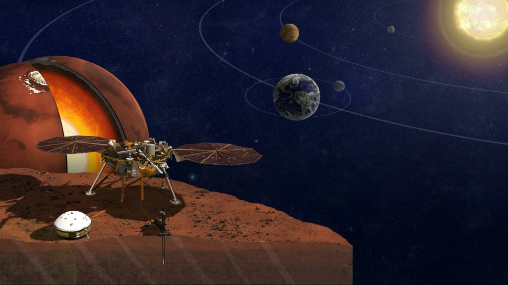 A rendering of the InSight Lander, which will help scientists learn about the formation of that planet and all rocky planets, like Earth.
