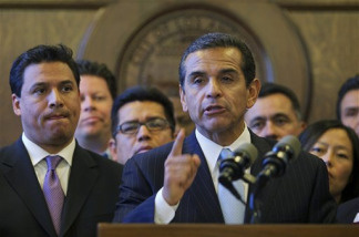 Los Angeles Mayor Antonio Villaraigosa, at podium, joins civic, religious and community leaders during a news conference at City Hall on Thursday, April 29, 2010 in Los Angeles to express their concerns about Arizona's new immigration law, and their participation in the upcoming May 1 Immigration reform march. Villaraigosa expressed his support for a proposal by two Los Angeles City Council members that calls for an economic boycott to protest Arizona's new immigration law.