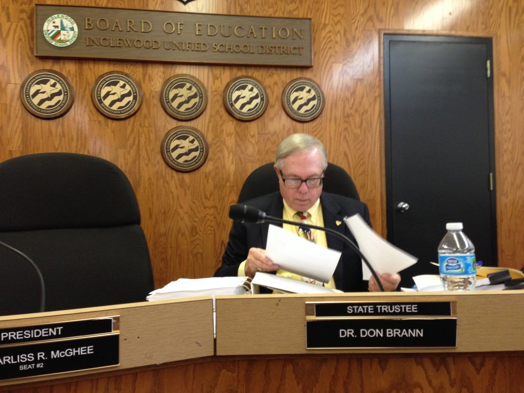Inglewood Unified school trustee Don Brann came under harsh criticism Wednesday night for his remarks to KPCC expressing concerns for his safety in the city.