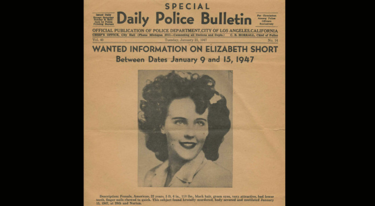 "This Daily Bulletin from January 21,1947 seeks information in relation to the death of Elizabeth Short nicknamed ""The Black Dahlia."""