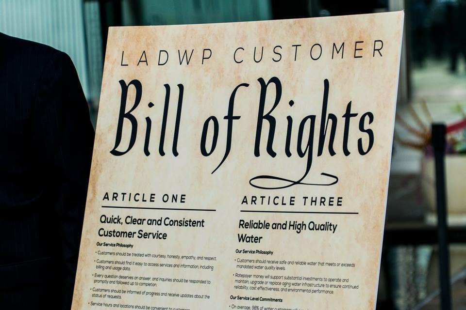 A display of the Los Angeles Department of Water and Power's Customer Bill of Rights. At a press conference Tuesday, Mayor Eric Garcetti said the department would
