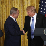 WASHINGTON, DC - FEBRUARY 15:  U.S. President Donald Trump (R) and Israel Prime Minister Benjamin Netanyahu (L) shake hands during a joint news conference.
