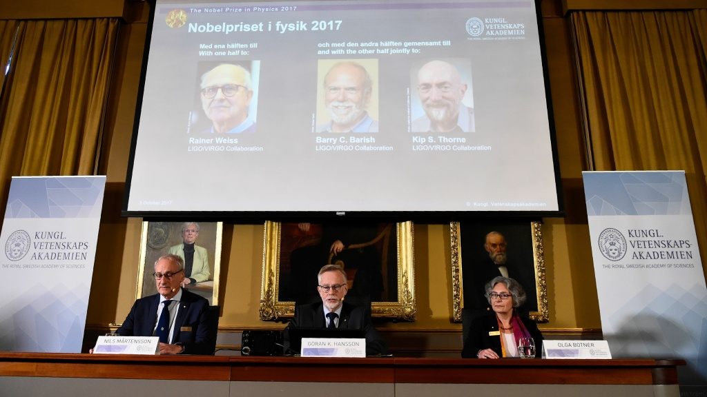 Nobel Committee for Physics members announce the 2017 Nobel Prize winners at the Royal Swedish Academy of Sciences in Stockholm. The laureates are, from left to right: Rainer Weiss, Barry C. Barish and Kip S. Thorne.