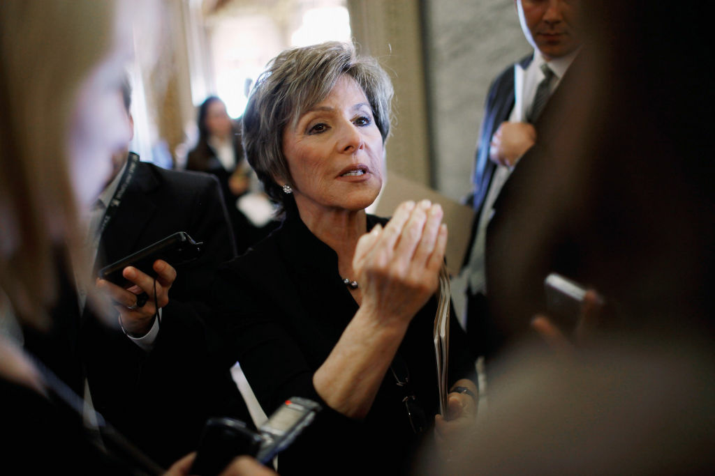 U.S. Sen. Barbara Boxer (D-CA) talks with reporters before heading to the Senate floor at the U.S. Capitol May 8, 2012. Boxer, who led the transportation segment of the discussion, called the Congress-approved bill a jobs bill. It is projected to salvage 2.8 million American jobs.