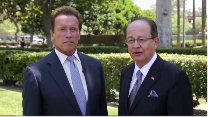 University of Southern California President C. L. Max Nikias and Arnold Schwarzenegger, 38th governor of California, announce the establishment of the USC Schwarzenegger Institute for State and Global Policy, which will be housed in the USC Price School of Public Policy.