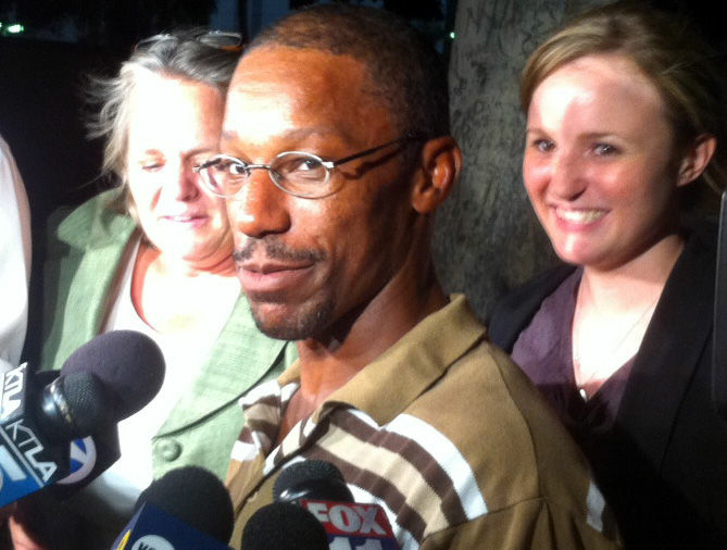 John Edward Smith, moments after walking out of law enforcement custody for the first time in 19 years. Smith was exonerated of a 1993 murder charge in an L.A. drive-by shooting.