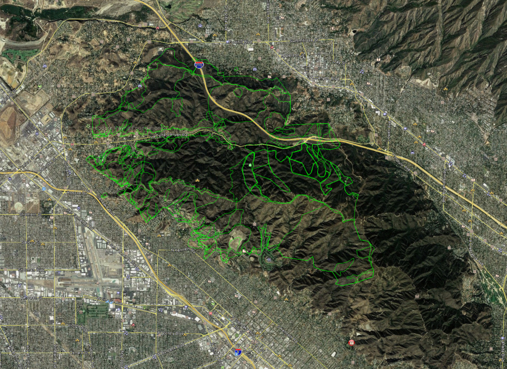 The green lines outline past fires in the Verdugo Mountains from 1937 to the present.