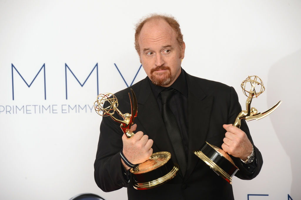 Louis C.K. poses in the press room at the 64th annual Prime Time Emmy Awards at the Nokia Theatre at LA Live in Los Angeles, California September 23, 2012.